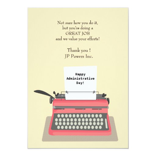 typewriter administrative professional day card