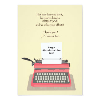Typewriter Administrative Professional Day 5x7 Paper Invitation Card