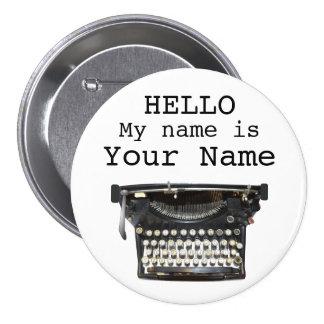 Typewriter Author Writer Name Tag Personalized Pin