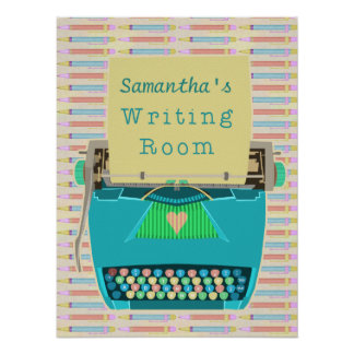 Typewriter Authors Writing Room Personalized Poster