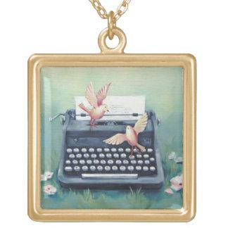 Typewriter & Birds Charm Necklace - Gold