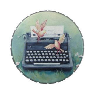 Typewriter & Birds Round Box Jelly Belly Candy Tin