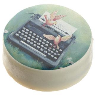Typewriter & Birds White Chocolate Covered Oreos