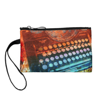 Typewriter Blue Red PopArt Change Purse