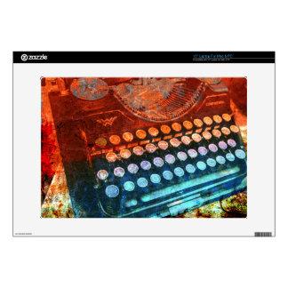 Typewriter Blue Red PopArt Decals For Laptops