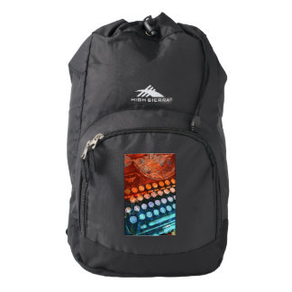 Typewriter Blue Red PopArt High Sierra Backpack