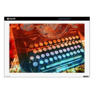 Typewriter Blue Red PopArt Laptop Decals