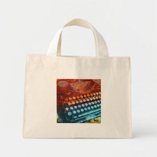 Typewriter Blue Red PopArt Mini Tote Bag