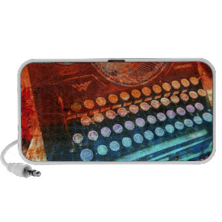 Typewriter Blue Red PopArt PC Speakers