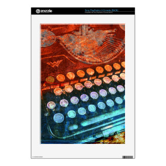 Typewriter Blue Red PopArt Skin For PS3 Console