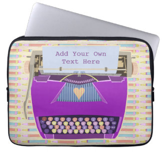 Typewriter Cute Retro Modern Personalized Text Computer Sleeve