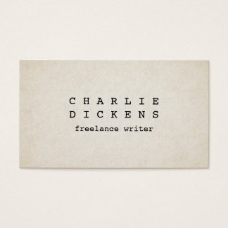 Typewriter Font Rough Old Paper Look Business Card