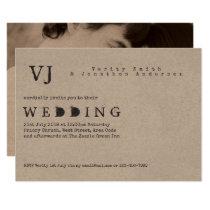Typewriter Font Wedding Invitations PHOTO Kraft