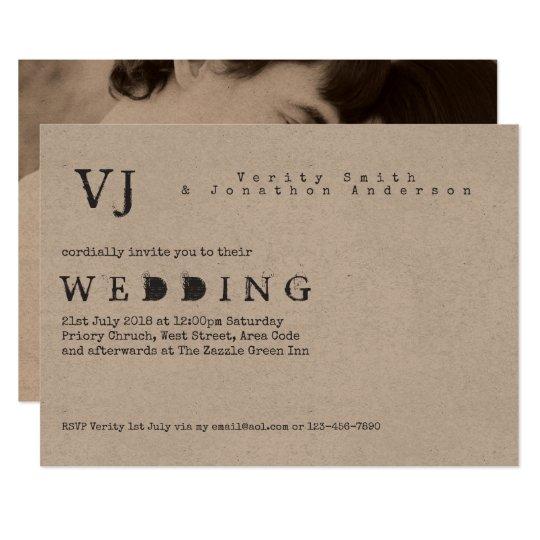 Typewriter Font Wedding Invitations Photo Kraft Zazzle Com
