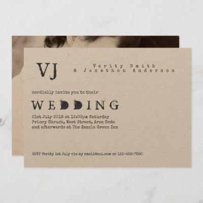Typewriter Font Wedding Vintage Rustic PHOTO Kraft Invitation