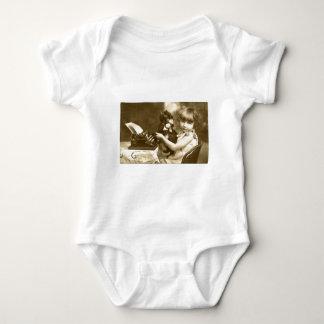 Typewriter girl baby bodysuit
