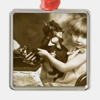Typewriter girl metal ornament