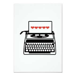 Typewriter hearts 3.5x5 paper invitation card