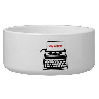 Typewriter hearts pet water bowl