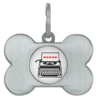 Typewriter hearts pet ID tags