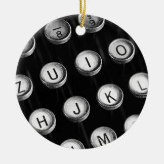 Typewriter keys ceramic ornament