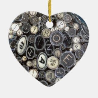 Typewriter Keys Heart Ornament