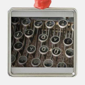 "Typewriter Keys ""I Love You"" Metal Ornament"