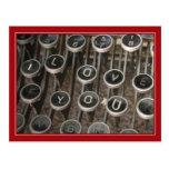 "Typewriter Keys ""I Love You"" Postcard"