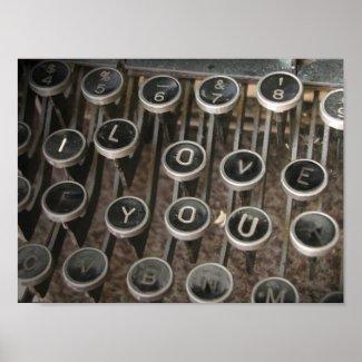"Typewriter Keys ""I Love You"" Poster"