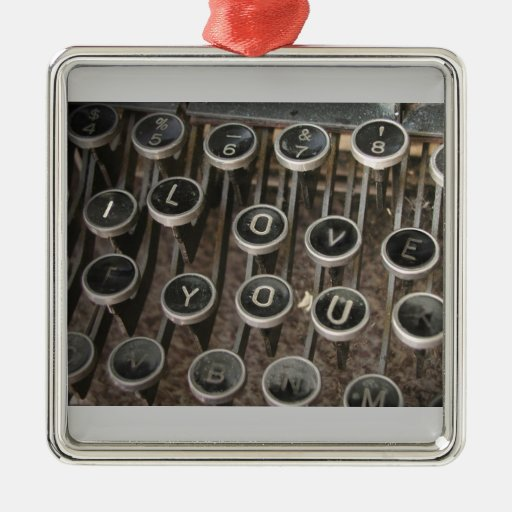"Typewriter Keys ""I Love You"" Square Metal Christmas Ornament"