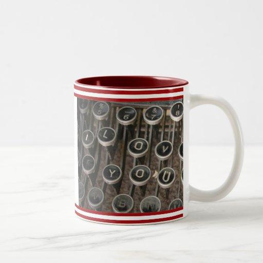 "Typewriter Keys ""I Love You"" Two-Tone Coffee Mug"