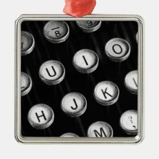 Typewriter keys metal ornament