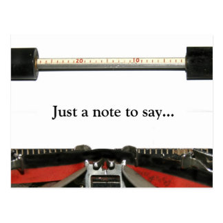 Typewriter note postcard
