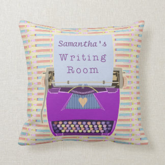 Typewriter Personalized Author Writing Room Purple Throw Pillow