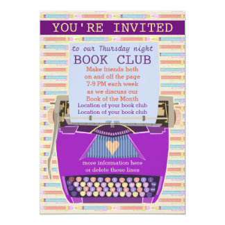 Typewriter Personalized Book Club Reading Group 1 5x7 Paper Invitation Card