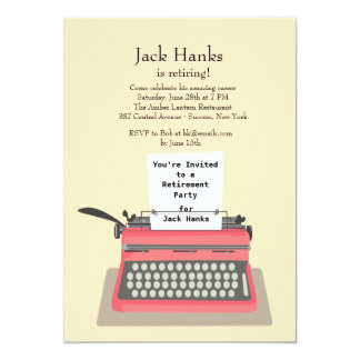 Typewriter Retirement Party Invitation