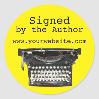 Typewriter Signed by Author Stickers Customizable
