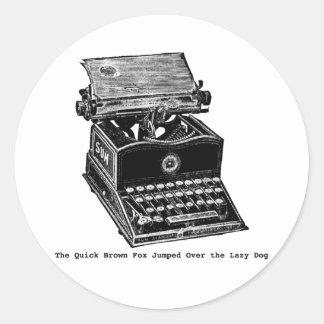 Typewriter, The Quick Brown Fox... Classic Round Sticker