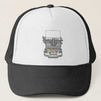 Typewriter vintage  hand drawn trucker hat