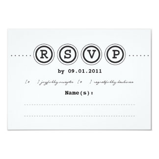 "Typewriter Wedding Invitation RSVP 3.5"" X 5"" Invitation Card"