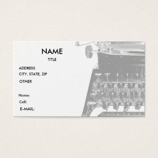 Typewriter WRITER AUTHOR BUSINESS CARD