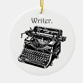 Typewriter Writer Double-Sided Ceramic Round Christmas Ornament