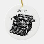 Typewriter Writer Double-Sided Ceramic Round Christmas Ornament