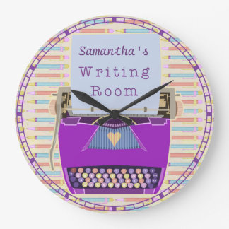 Typewriter Writing Room Personalized Author Large Clock