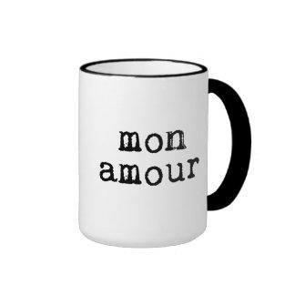 Typewritten Mon Amour Ringer Coffee Mug