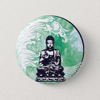 Typhoon Buddha Wave Emerald Smoke Pinback Button