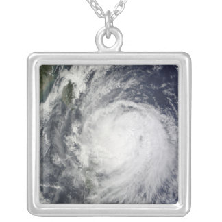 Typhoon Lupit off the Philippines Silver Plated Necklace