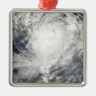 Typhoon Morakot over Taiwan Square Metal Christmas Ornament