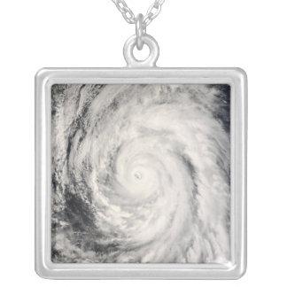Typhoon Rammasun in the Philippine Sea Silver Plated Necklace