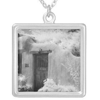 Typical adobe door and entryway in Santa Fe, New Silver Plated Necklace